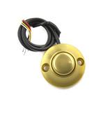 JSB-Kn-20 Кнопка накладная. Полированный анодированный дюралюминий под золото. Желтая подсветка по контуру. В комплекте крепежные элементы, инструкция с установочным трафаретом. Максимальное коммутированное напряжение 36В. Максимальный коммутированны