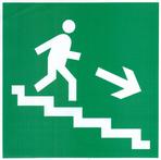 """Знак """"Направление к эвакуационному выходу по лестнице вниз направо"""" с нанес. ф/л Е13"""
